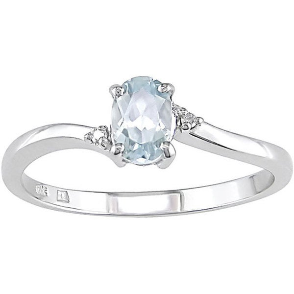 66729efe0cee3 Shop 10k White Gold Oval Aquamarine Ring - Free Shipping Today ...