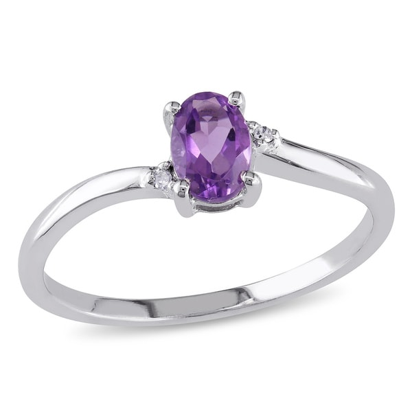 Miadora 10k White Gold Oval Amethyst Ring Free Shipping Today