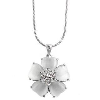 Kate Bissett Silvertone  White Cat's Eye CZ Flower Necklace