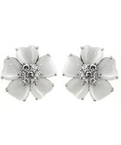 Kate Bissett Silvertone White Cat's Eye CZ Flower Earrings