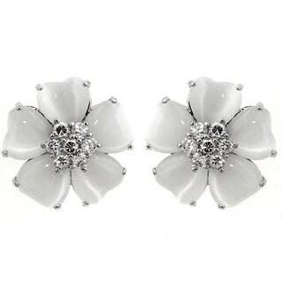 Kate Bissett Silvertone White Cat's Eye CZ Flower Earrings