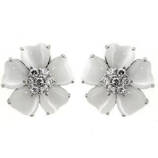 Kate Bissett Silvertone White Cat's Eye CZ Flower Earrings|https://ak1.ostkcdn.com/images/products/2465566/P10688506.jpg?impolicy=medium