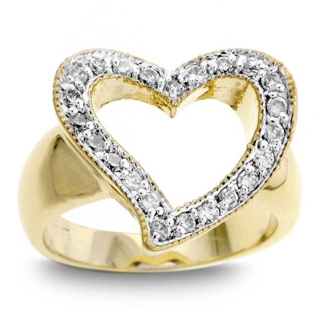 Kate Bissett Two-tone  Heart Pave Angled CZ Ring