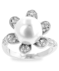Kate Bissett Silvertone Pink Faux Pearl Flower CZ Ring