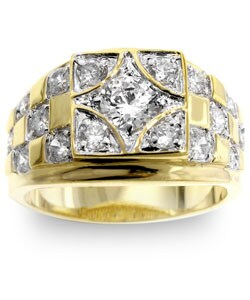 Kate Bissett Men's Two-tone Checkerboard CZ Ring