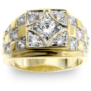 Kate Bissett Men's Two-tone Checkerboard CZ Ring (More options available)