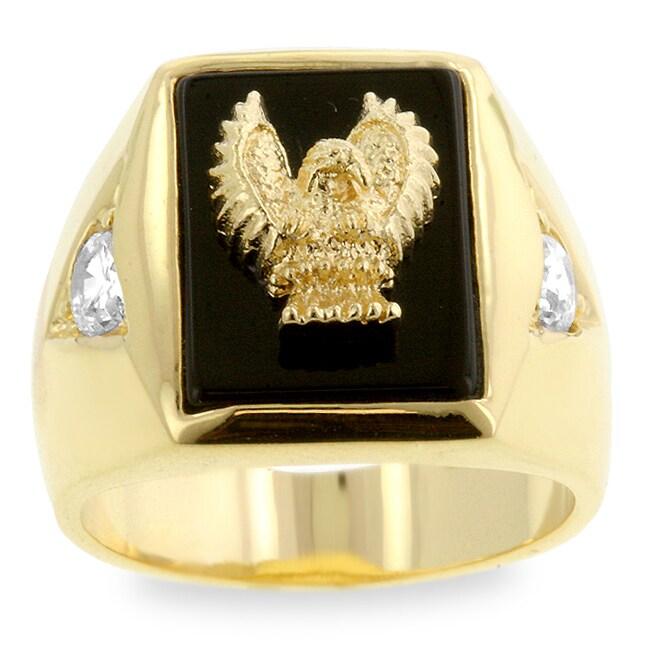 Kate Bissett Men's Goldtone Golden Eagle with Onyx Ring