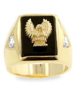 Kate Bissett Men's Goldtone Golden Eagle with Onyx Ring