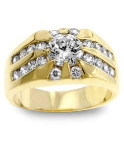 Kate Bissett Men's Goldtone CZ Ring|https://ak1.ostkcdn.com/images/products/2465598/3/Kate-Bissett-Mens-Goldtone-CZ-Ring-P10688519.jpg?impolicy=medium