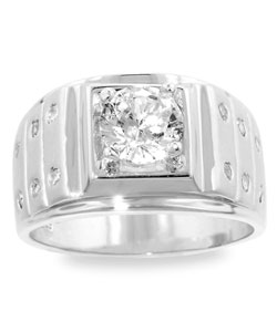 Kate Bissett Matted Silvertone Clear Cubic Zirconia Men's Ring (More options available)