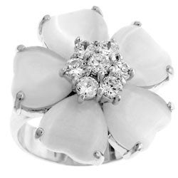 Kate Bissett Silvertone White Cat's Eye Flower CZ Ring