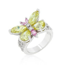 Kate Bissett Silvertone  Multicolored CZ Butterfly Cocktail Ring