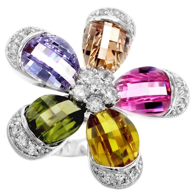 Kate Bissett Silvertone Multicolored CZ Flower Ring