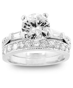 Kate Bissett Silvertone CZ Ring with Matching Eternity Band