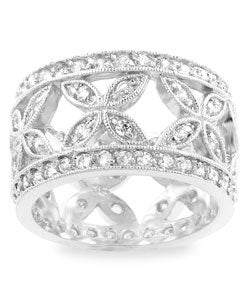 Kate Bissett Silvertone Pave CZ Eternity Band