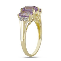 Miadora 10k Yellow Gold Emerald-Cut Amethyst Ring - Thumbnail 1