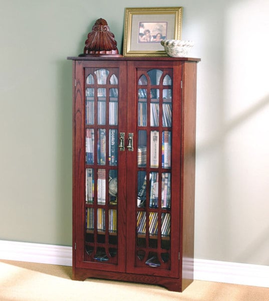 Harper Blvd Cherry Window Pane Media Cabinet