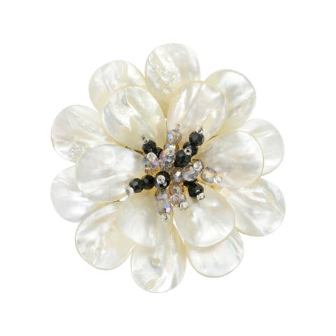 Handmade Stunning Mother of Pearl & Crystal Flower Blossom Brooch Pin (Thailand)