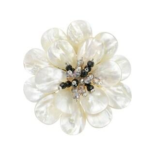 Handmade Stunning Mother of Pearl & Crystal Flower Blossom Brooch Pin (Thailand)