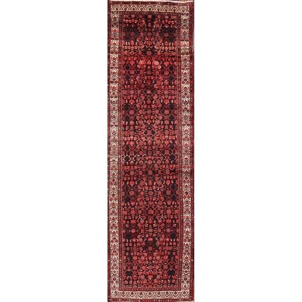 """Hand Made Woolen Hamedan Persian Rug - 13'2"""" x 3'9"""" runner"""