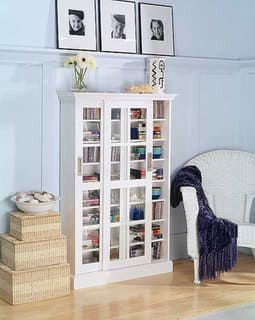 harper blvd white sliding door media cabinet - Media Cabinet With Bookshelves