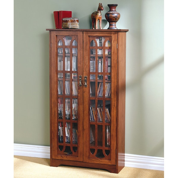 Harper Blvd Glass Paneled 6-shelf Oak Media Cabinet