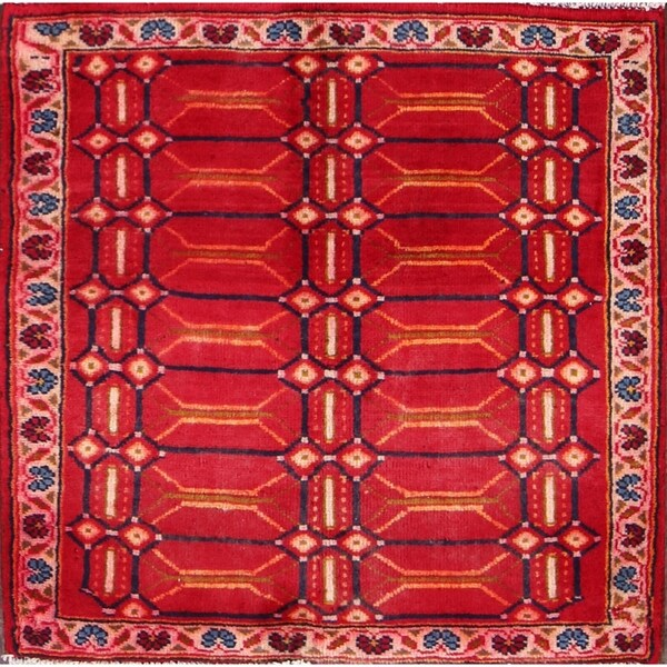 """Vintage Shiraz Classical Persian Geometric Small Area Rug Red Wool - 2'5"""" square"""