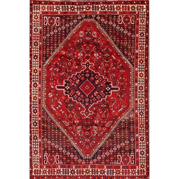 "Ghashghaei Shiraz Classical Handmade Geometric Area Rug Persian - 8'0"" x 5'3"""