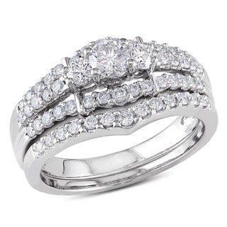 Miadora Signature Collection 14k White Gold 1ct TDW Round Diamond Wedding Ring Set