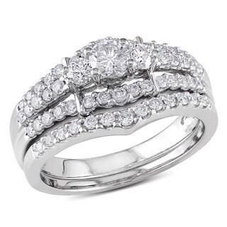 Miadora Signature Collection 14k White Gold 1ct TDW Round Diamond Wedding Ring Set