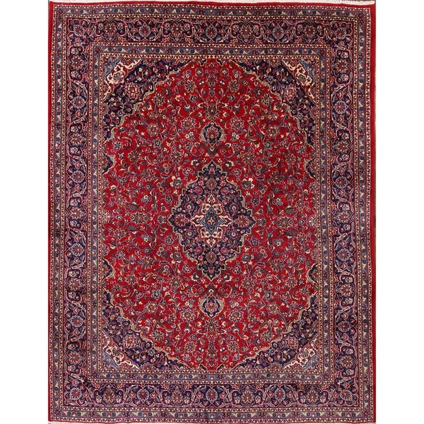 """Mashad Hand Knotted Wool Persian Medallion Traditional Area Rug - 12'7"""" x 9'7"""""""