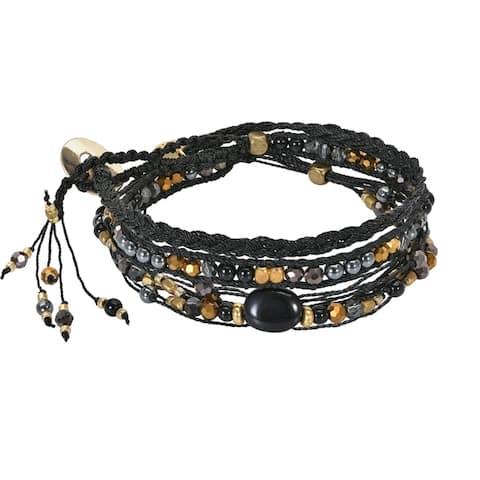 Handmade Fusion of Maroon Mixed Tones Chunky Triple Wrap Bracelet (Thailand)