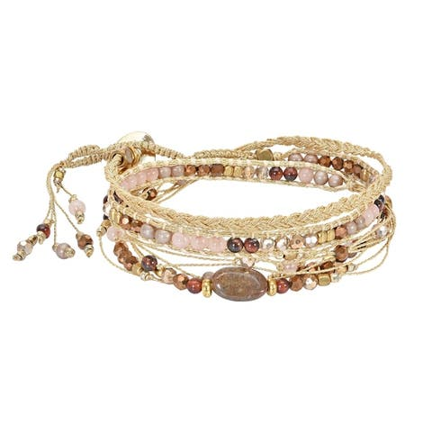 Handmade Stunning Fusion of Chunky Bead, Brass & Stone Triple Wrap Bracelet (Thailand)