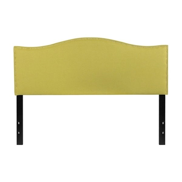 Offex Lexington Upholstered Queen Size Panel Headboard with Decorative Nail Trim in Green Fabric