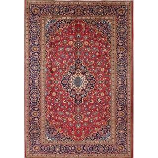 """Vintage Kashan Persian Medallion Wool Livingroom Area Rug Handmade - 11'2"""" x 8'0"""""""