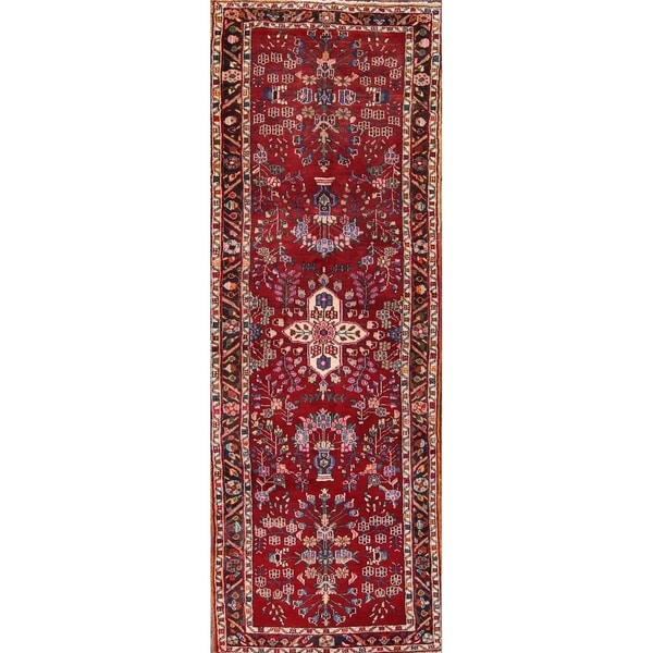 "Hand Made Wool Zanjan Persian Floral Rug - 10'7"" x 3'9"" runner"