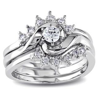 Miadora 14k White Gold 1/4ct TDW White Diamond Overlapping 3-Piece Bridal Set (More options available)