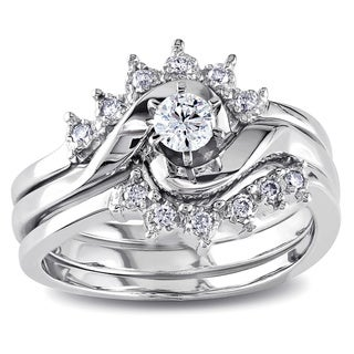 Miadora 14k White Gold 1/4ct TDW White Diamond Overlapping 3-Piece Bridal Set
