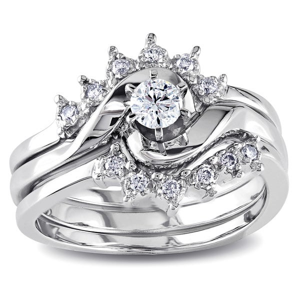 14k White Gold 1/4ct TDW Diamond Overlapping 3-Piece Bridal Ring Setby The Miadora Signature Collection