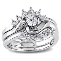 Miadora 14k White Gold 1/4ct TDW White Diamond Overlapping 3-Piece Bridal Set