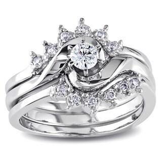 Miadora 14k White Gold 1/4ct TDW White Diamond Overlapping 3 Piece Bridal  Set