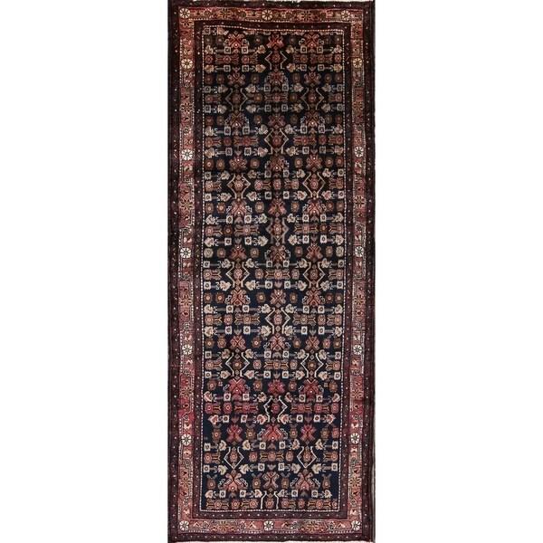 "Geometric Hand Made Hamedan Persian Rug for Entryway - 10'1"" x 3'10"" runner"