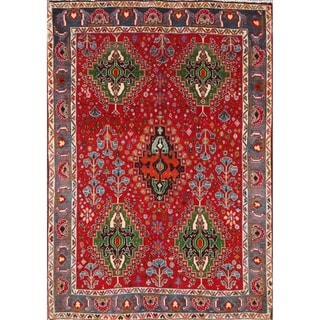 """Traditional Abadeh Shiraz Persian Vintage Oriental Area Rug Hand Made - 4'11"""" x 3'5"""""""