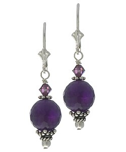 Lola's Jewelry Sterling Silver Amethyst and Crystal Earrings