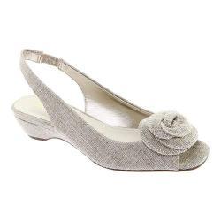 Women's Anne Klein Harietta Peep Toe Slingback Silver/Natural Linen