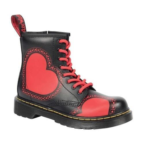b7d621a7ae787 Shop Children's Dr. Martens Delaney 8 Eye Side Zip Boot - Youth Stripe Red/ Black Heart T Lamper Leather - Free Shipping Today - Overstock - 20972084