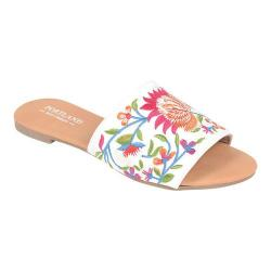 Women's Portland Boot Company Lizzy Floral Slide Sandal White Satin (More options available)