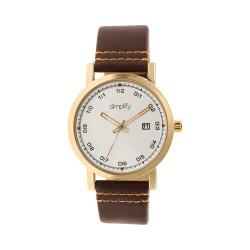 Simplify The 5300 Leather Band Watch Gold/Brown
