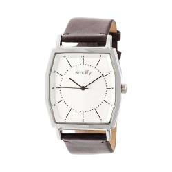 Simplify The 5400 Leather Band Watch Silver/Dark Brown