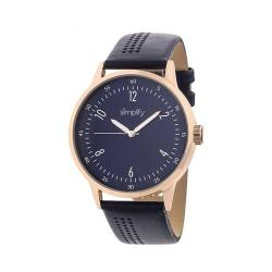 Simplify The 5700 Leather Band Watch Navy